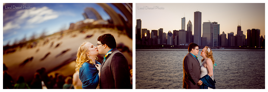 chicago bean skyline wedding portrait