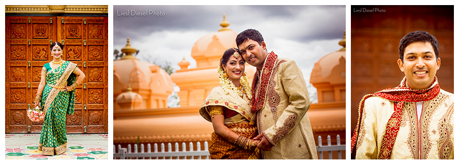 wedding day portrait indian couple hindu temple of chicago lemont
