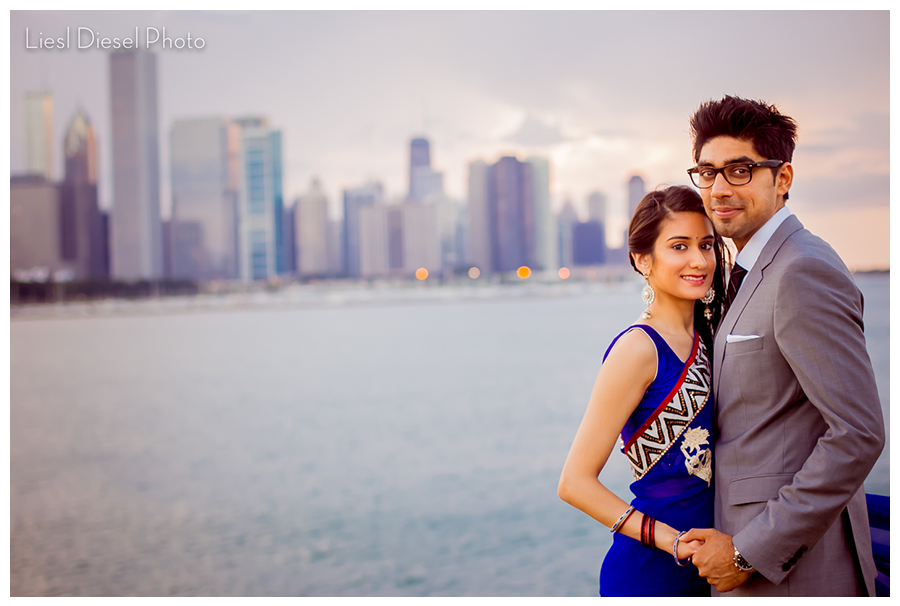 Adler planetarium chicago skyline engagement portrait indian couple blue sari