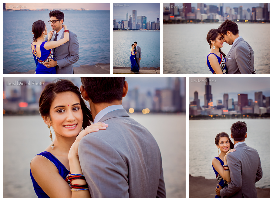 Twinkle city lights adler planetarium chicago skyline engagement portrait indian couple blue sari