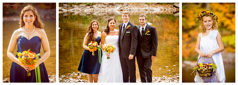 2 wedding party portrait rustic outdoor theme navy blue green orange