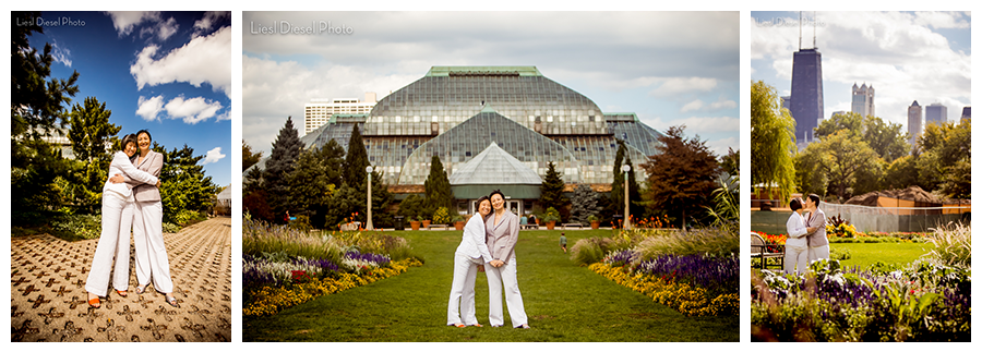 Lincoln Park Zoo Brides Wedding Portrait White Linen Grey Suit Chicago Conservatory Liesl Sel Photo
