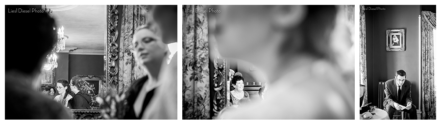 black and white wedding photojournalism groom rehearses vows bride consults grandmother