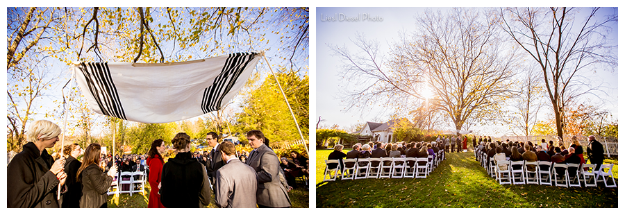 outdoor fall wedding ceremony chuppa chuppah chupah under tree