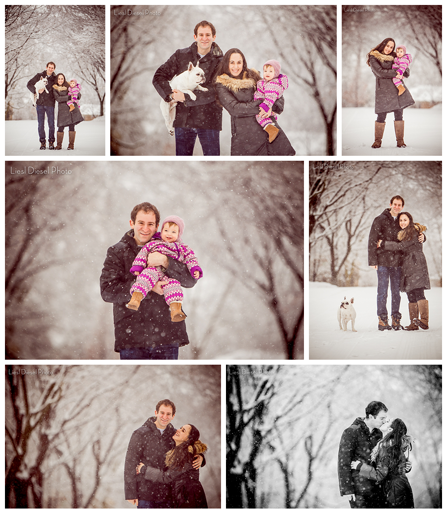 Family Winter Holiday Portrait Session Collage Inspiration Snow White Playful Dog Baby Fun Outside Liesl Diesel
