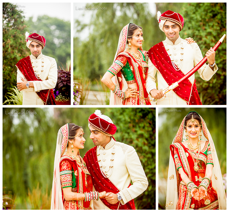 d7bcf161e5 hindu indian wedding bride groom portrait turban sword sherwani sari  jewelry red green gold ivory portrait liesl diesel photo los angeles  photographer