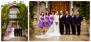 liesl diesel photo bond chapel chicago university campus wedding party portrait ivy purple pink tux bouquet