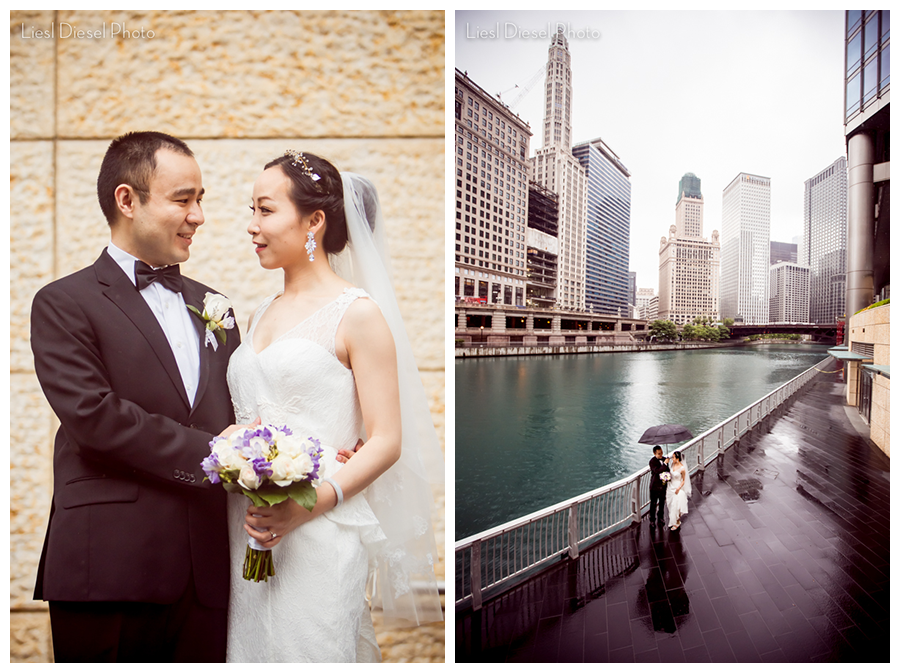 liesl diesel photo chicago river walk bride groom wedding portrait chinese rain