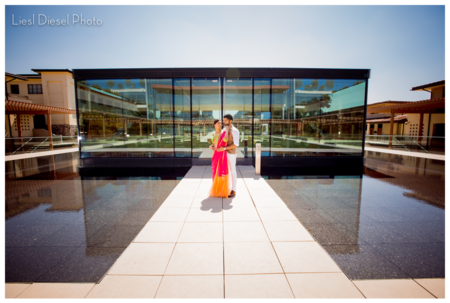 liesl diesel photo indian engagement session pomona college abstract architecture reflective building pool