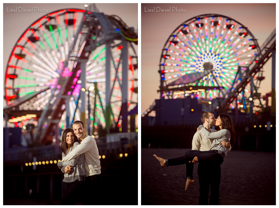 liesl diesel photo santa monica pier ferris wheel carousel sunset engagement portrait session off camera light flash ocf