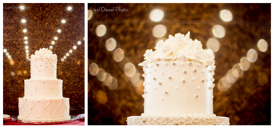 liesl diesel photo white wedding cake pearl flower white bokeh reflection
